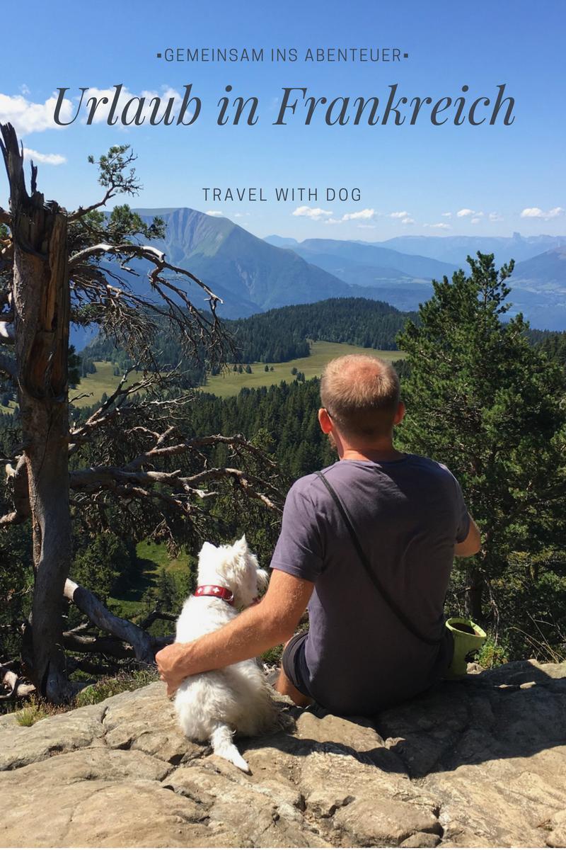 Mann mit Hund in den Bergen